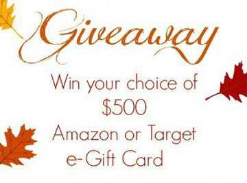 $500 Target or Amazon Gift Card GIVEAWAY!