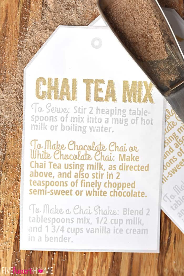 Chai Tea Mix ~ a unique homemade food gift for those who love Chai Tea; use the mix to whip up everything from lattes to milkshakes, and include the free printable gift tags with directions for gift giving! | FiveHeartHome.com