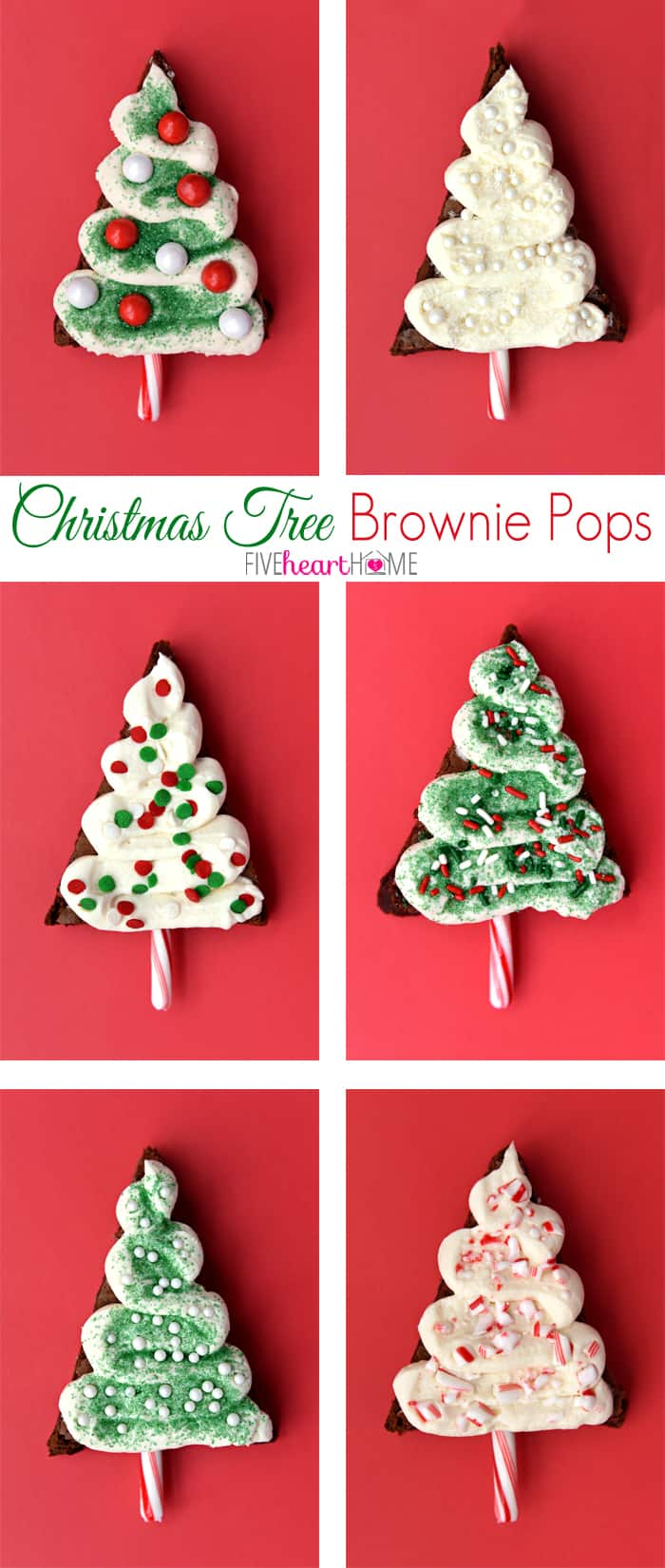 "Christmas Tree Brownie Pops ~ fudgy brownies, tangy cream cheese frosting, candy cane ""trunks,"" and lots of festive sprinkles make these Christmas cookies perfect for decorating with kids, filling a holiday cookie platter, giving as food gifts, or leaving for Santa! 
