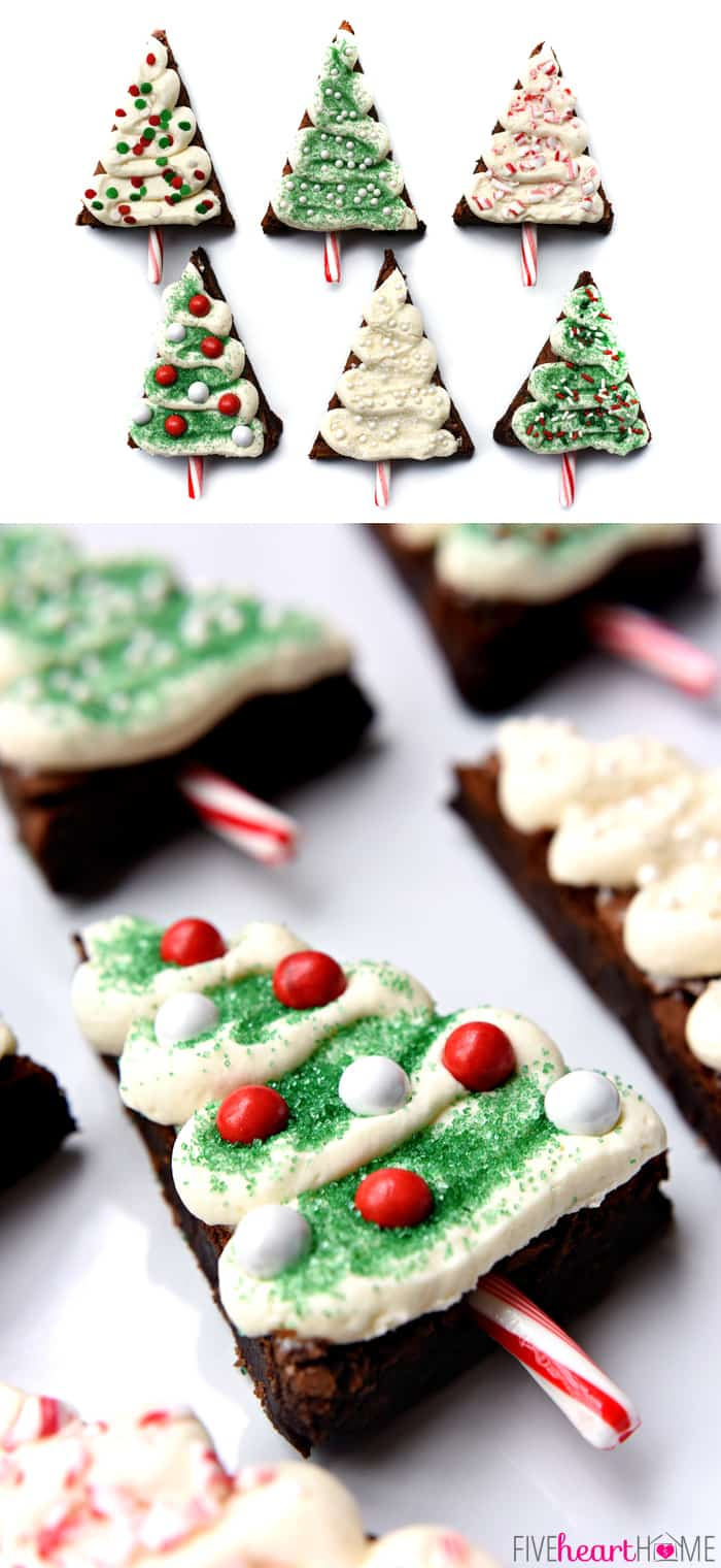 Christmas Tree Brownie Pops Assemble on a White Platter