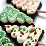 Christmas Tree Brownies on a plate.