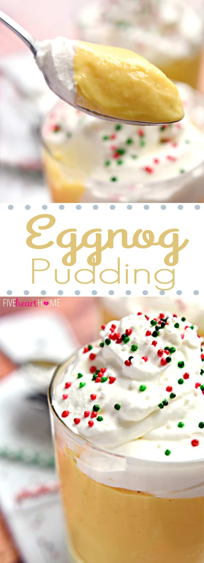 Eggnog Pudding with Whipped Cream Collage with Text Overlay