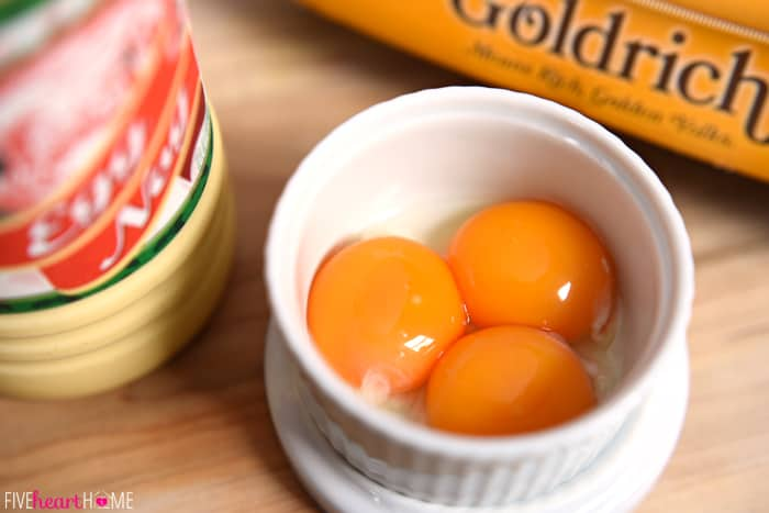 Three Egg Yolks in Ramekin