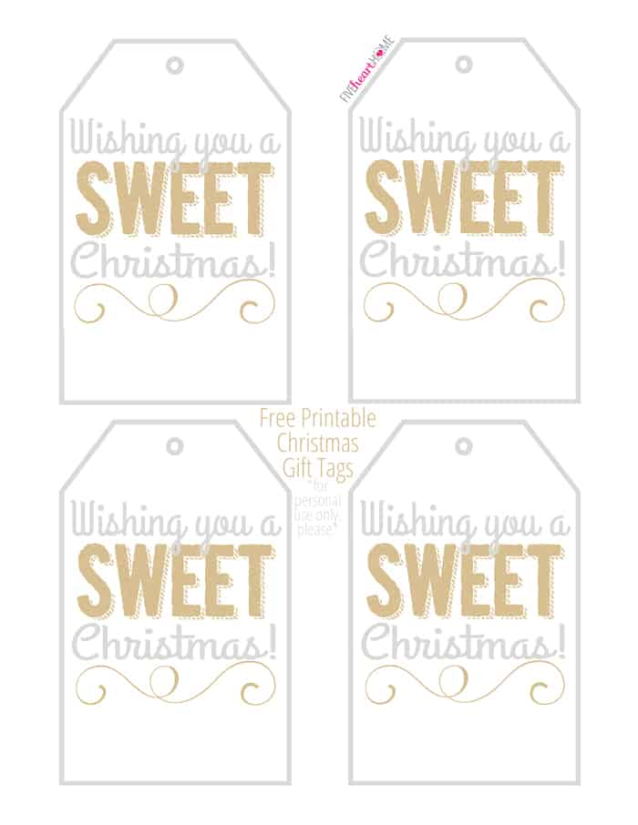 "Free Printable Christmas Gift Tags: ""Wishing you a SWEET Christmas!"" ~ perfect for homemade holiday food gifts! 