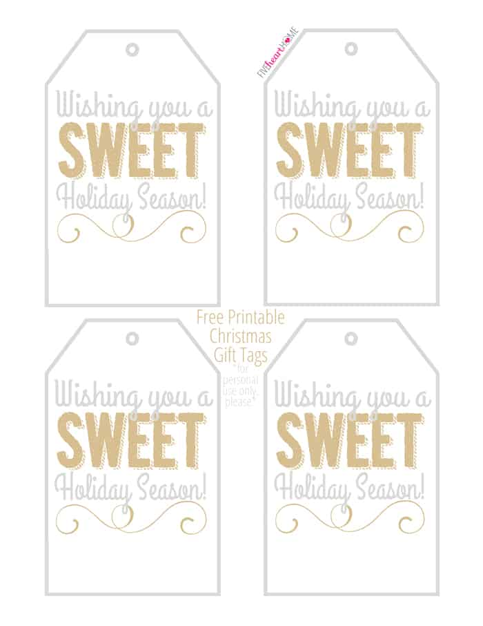 "Free Printable Holiday Gift Tags: ""Wishing you a SWEET Holiday Season!"" ~ perfect for homemade holiday food gifts! 