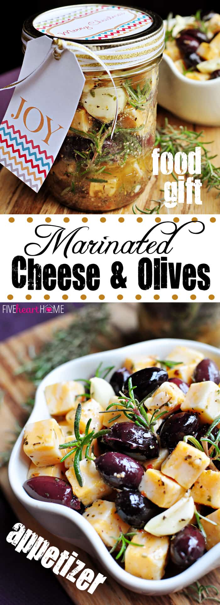 Marinated Cheese & Olives come together in a herb- and garlic-infused dressing for a quick, attractive appetizer or a fun and easy food gift in a jar! | fivehearthome.com