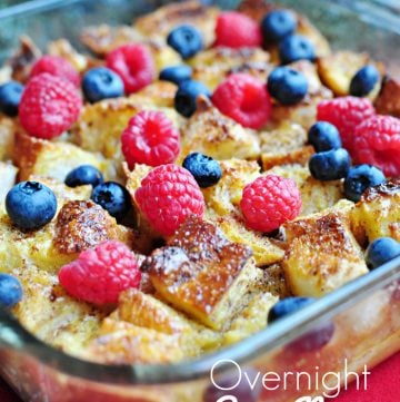 Overnight Egg Nog French Toast Casserole ~ perfect, make-ahead breakfast for Christmas morning! | FiveHeartHome.com