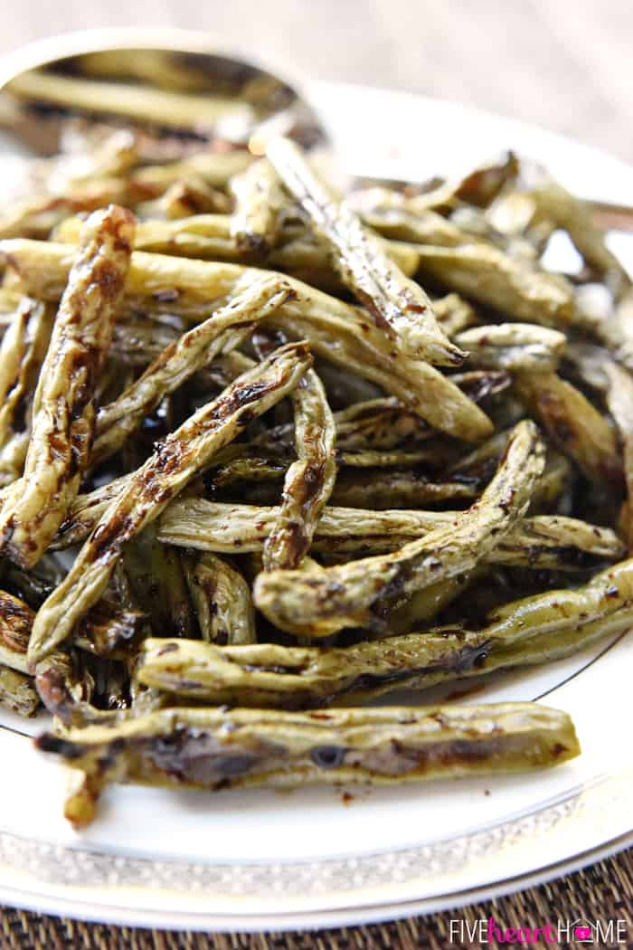 Close-Up of Roasted Balsamic Green Beans