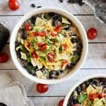 Slow Cooker Creamy Black Bean and Chicken Soup ~ a hearty, healthy, effortless crock pot dinner for those cold winter nights! | FiveHeartHome.com