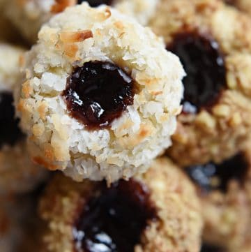 Aerial view of stack of Thumbprint Cookies.