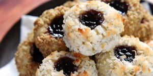 Thumbprint Cookies ~ classic cookies that are lightly sweet with a shortbread-like texture, a coating of toasty coconut or pecans, and a center of your favorite jam | FiveHeartHome.com