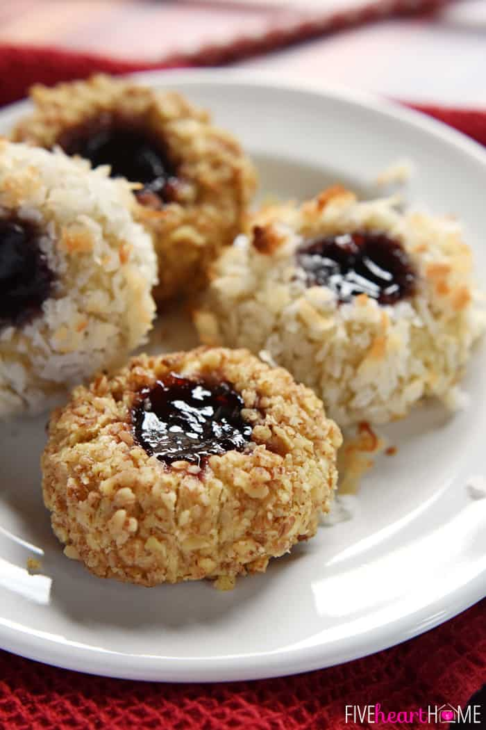 Two Pecan Coated and Two Coconut Coated Thumbprint Cookies