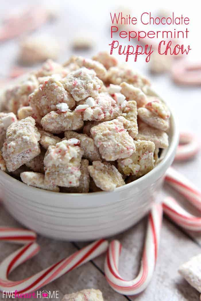 Christmas Puppy Chow (AKA, Muddy Buddies) ~ a delicious holiday snack mix made with white chocolate, peppermint, and Chex cereal...perfect for serving at parties, giving as a gift to neighbors and friends, and using up leftover candy canes! | FiveHeartHome.com via @fivehearthome