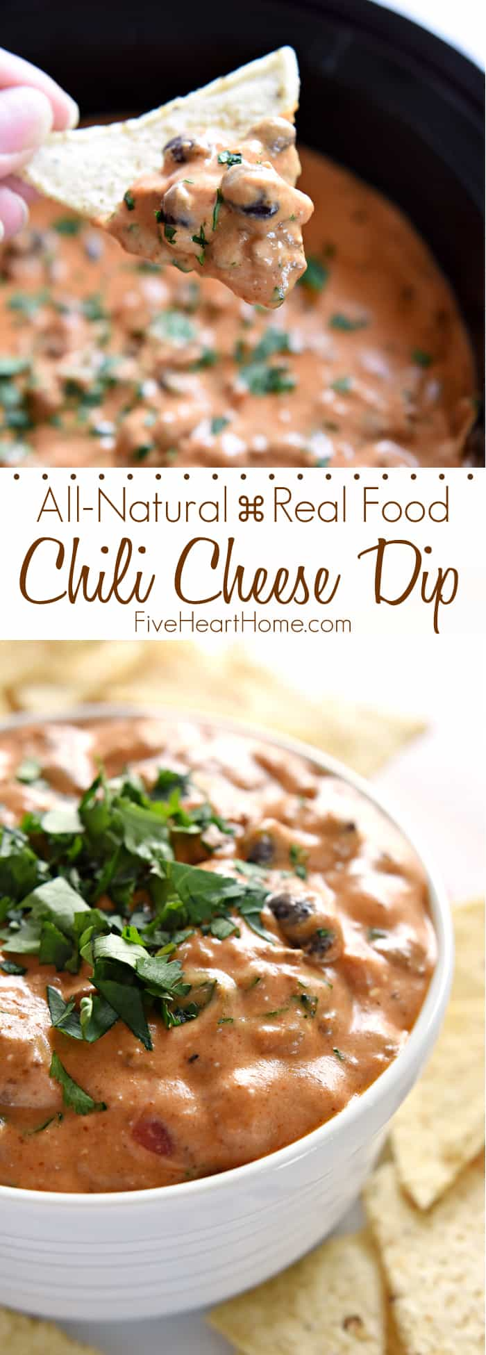 All-Natural Chili Cheese Dip ~ this decadent, creamy, real food version of Chili's Skillet Queso features from-scratch chili, homemade cheddar cheese sauce, and no processed ingredients! | FiveHeartHome.com