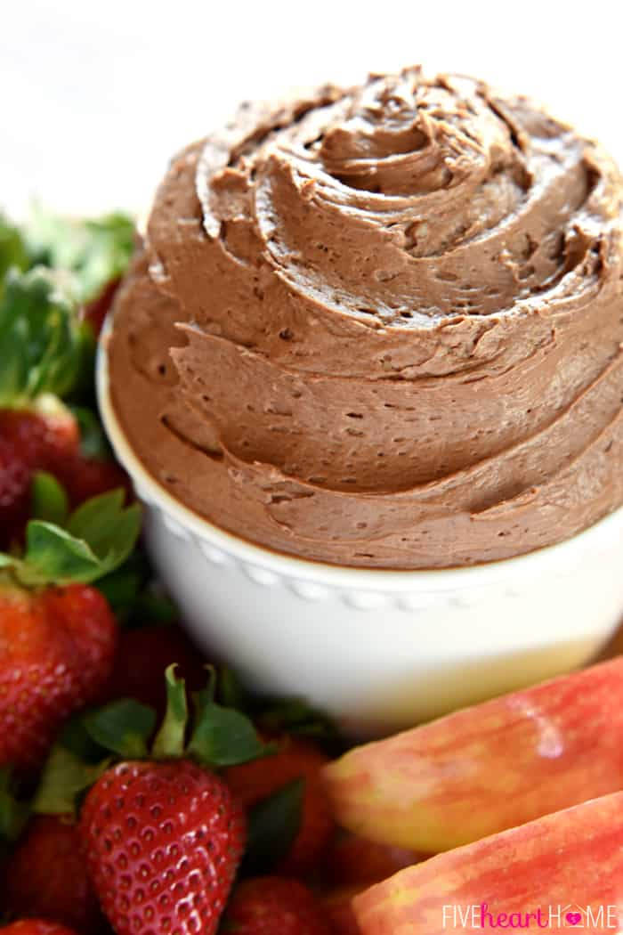 Fluffy Chocolate Fruit Dip ~ made with cream cheese, melted chocolate, and real whipped cream, this dessert tastes just like dipping fresh fruit into chocolate cheesecake! | FiveHeartHome.com