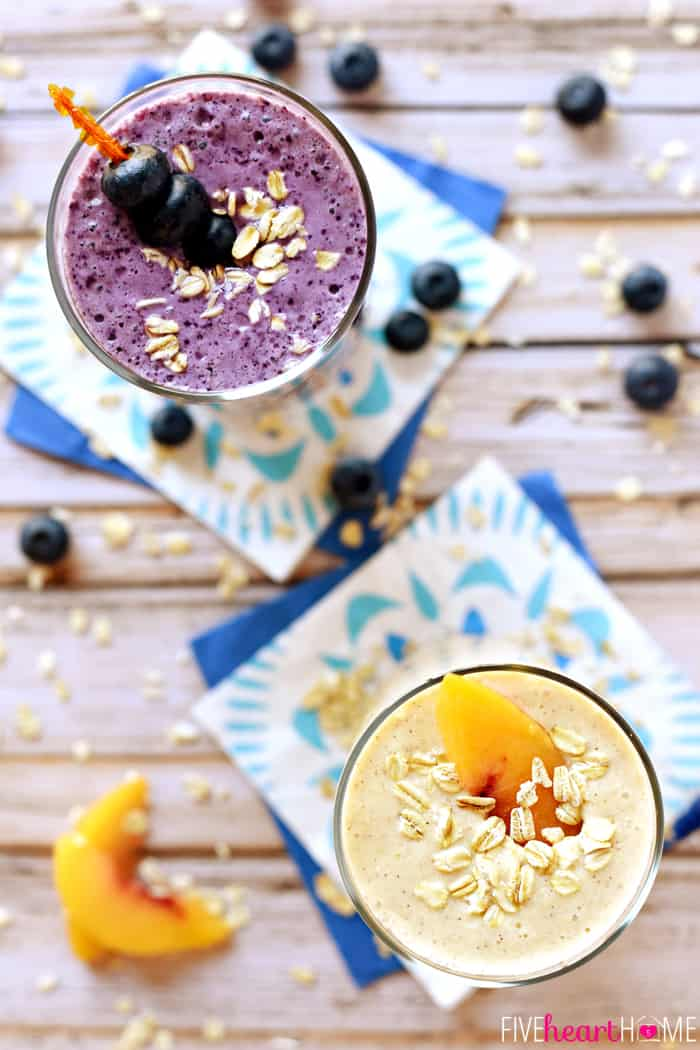 Healthy Oat Smoothies Blueberry Muffin Amp Peach Cobbler