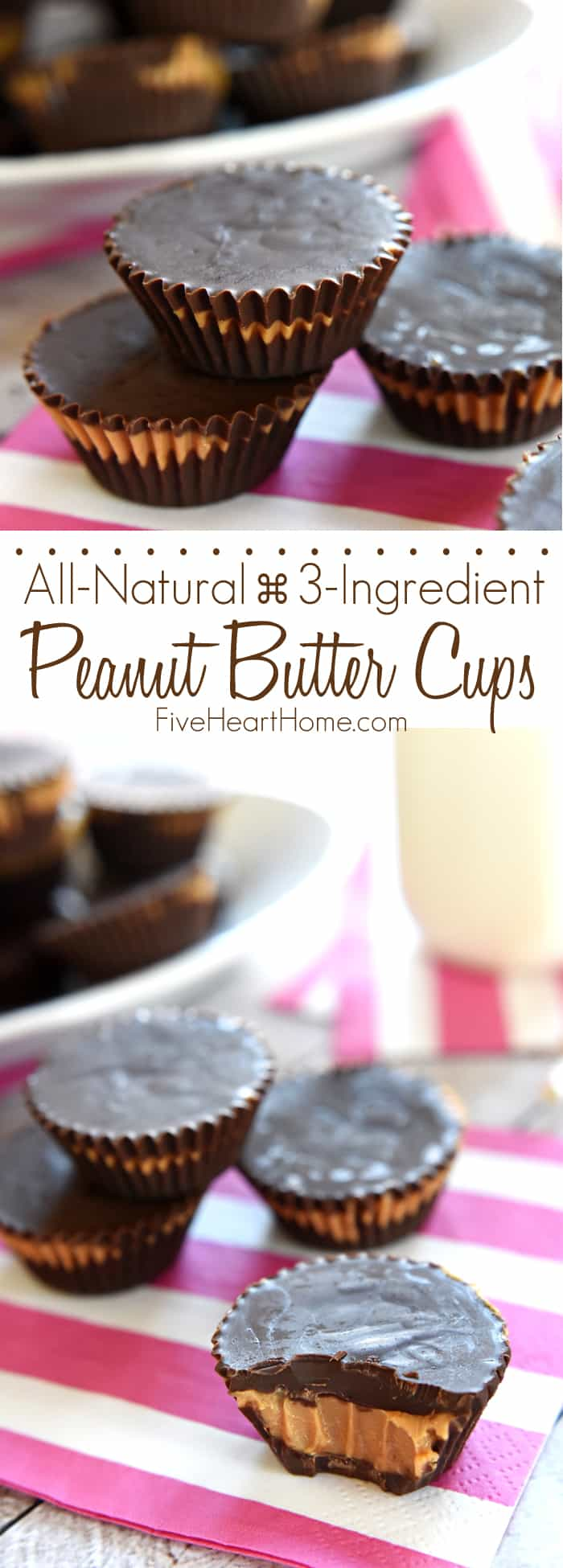 Homemade Peanut Butter Cups ~ these easy, all-natural peanut butter cups whip up with just three ingredients! | FiveHeartHome.com via @fivehearthome