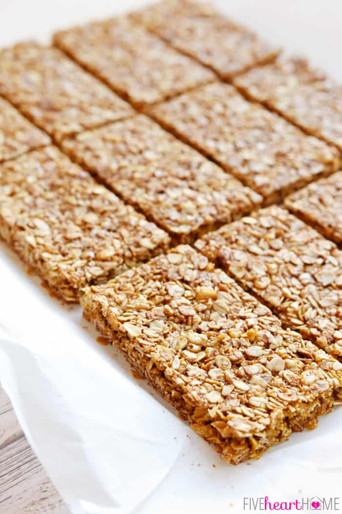 Sliced Oats and Honey Granola Bars on Parchment Paper