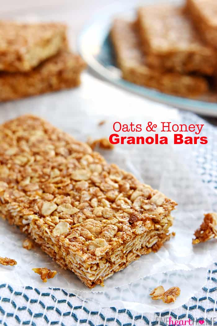 Oats and Honey Granola Bars with text overlay