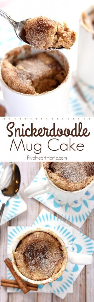 Snickerdoodle Mug Cake collage with text