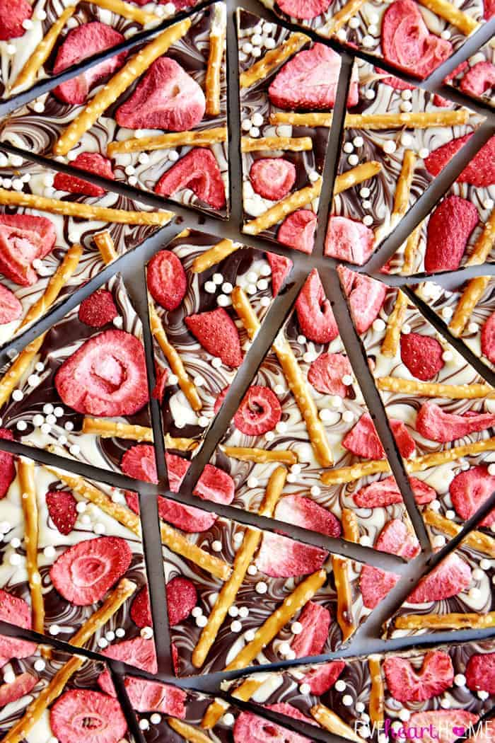 Strawberry Pretzel Chocolate Swirl Bark Broken into Big Chunks