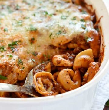 Beefy Cheese Tortellini Bake in a dish