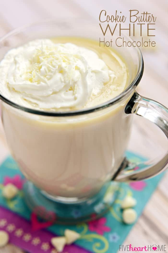 Cookie Butter White Hot Chocolate ~ Biscoff Spread and melted white chocolate make for a sweet, creamy, decadent, and warming drink | FiveHeartHome.com