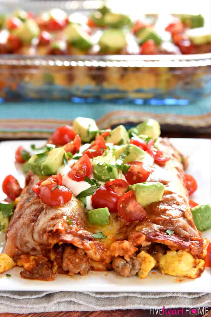 Breakfast Enchiladas with Garnish of Tomatoes, Avocado and Cilantro