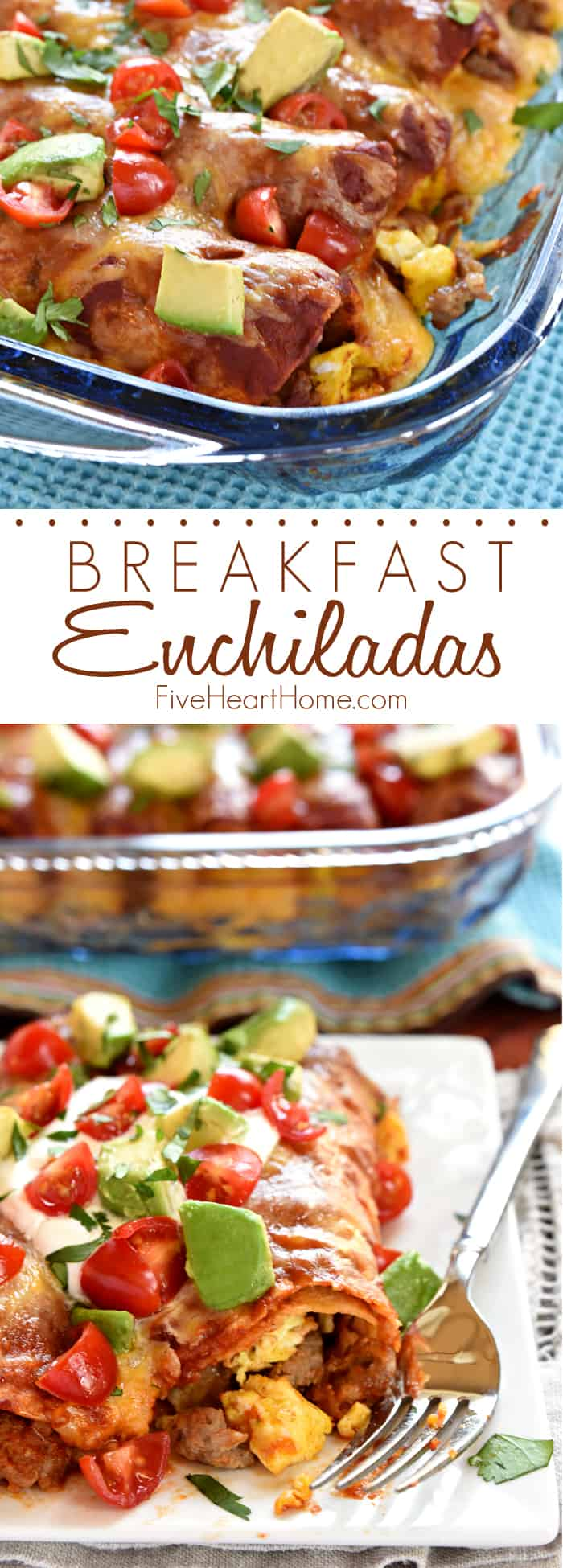 Breakfast Enchiladas ~ stuffed with sausage, eggs, and cheese, then topped with homemade red enchilada sauce, more cheese, and all of your favorite enchilada garnishes, these are even better than breakfast tacos! | FiveHeartHome.com via @fivehearthome
