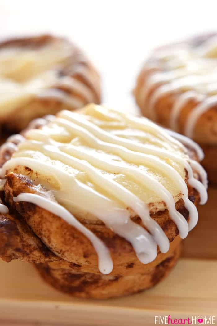 Cream Cheese Filled Cinnamon Roll Cups Drizzled with Icing