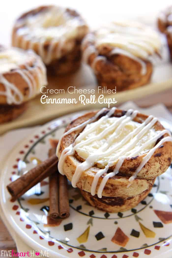 Cream Cheese Filled Cinnamon Roll Cups with text overlay.