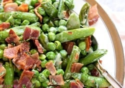 Creamy Spring Peas with Bacon + Mint