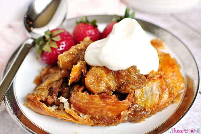Caramel Croissant Bread Pudding features a homemade, 5-minute caramel ...