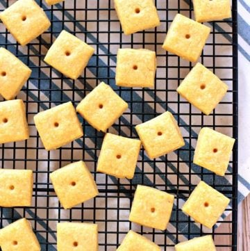 Aerial view of Cheese Crackers on cooling rack.