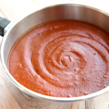 Homemade Red Enchilada Sauce ~ all-natural, quick and easy to make, full of flavor, and as mild or spicy as you prefer | FiveHeartHome.com