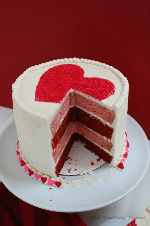 Valentine's Day Red & Pink Velvet Cake | thecraftingfoodie.com
