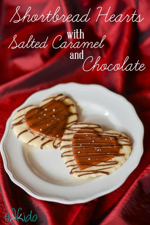 Shortbread Hearts with Salted Caramel & Chocolate | Tikkido.com