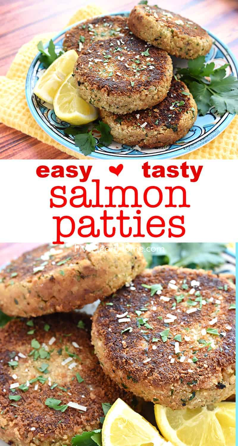 Salmon Patties ~ crunchy on the outside and tender on the inside, these salmon cakes are a quick, easy, and flavorful recipe for getting more brain-boosting, heart-healthy omega-3s into your diet! | FiveHeartHome.com #salmonpatties #salmoncakes
