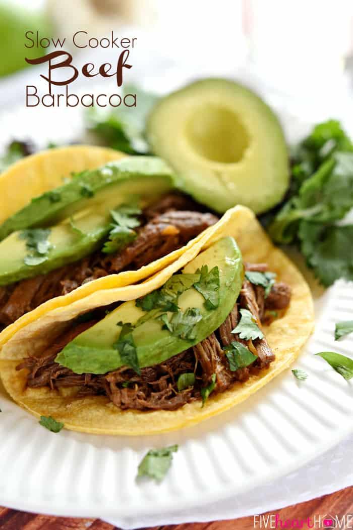 Slow Cooker Beef Barbacoa Recipe with Text Overlay