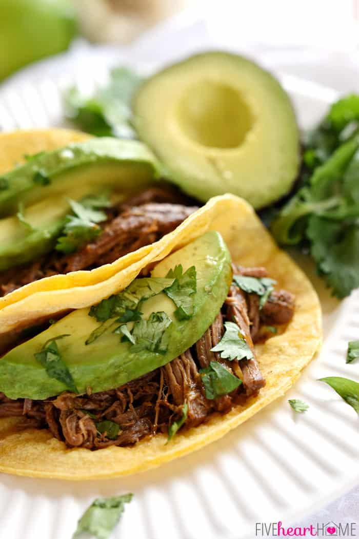 Beef Barbacoa in Soft Corn Tortillas