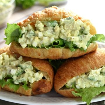 Avocado Egg Salad ~ avocado toast meets classic egg salad, lightened up with yogurt and studded with creamy chunks of avocado throughout...a perfect topping for sandwiches, crackers, or salads and a fantastic way to use up leftover hard-boiled eggs! | FiveHeartHome.com