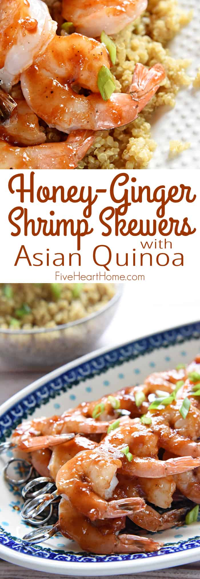 Honey Garlic Shrimp ~ plump shrimp are glazed with a sweet, tangy, homemade BBQ sauce for an effortless, delicious weeknight dinner that's special enough for company! | FiveHeartHome.com via @fivehearthome