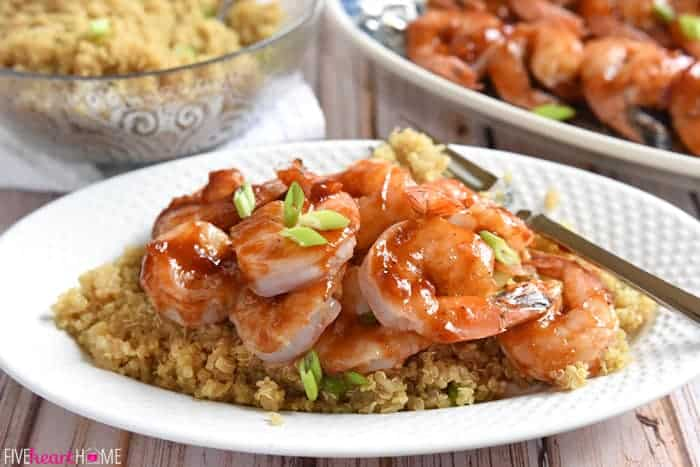 Honey Ginger Shrimp Skewers with Asian Quinoa