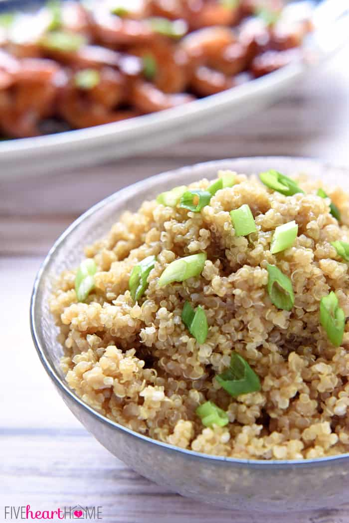 Bowl of Asian Quinoa garnished with chopped green onions