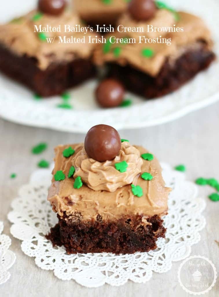 Malted Bailey's Irish Cream Brownies with Chocolate Irish Cream Frosting | The Gold Lining Girl