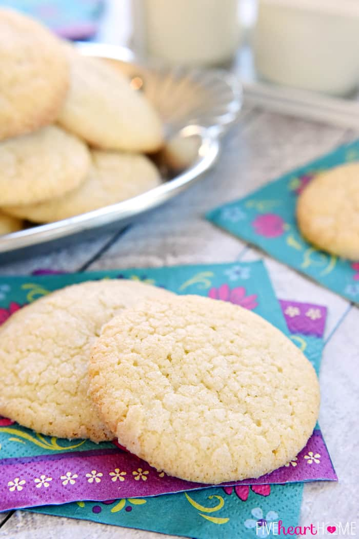 Soft & Puffy Sugar Cookies ~ requiring no rolling, these vanilla-infused cookies have a tender, chewy interior and a crunchy coating of sugar | FiveHeartHome.com