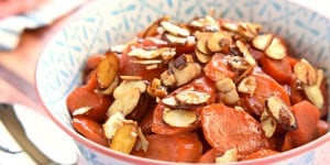 Orange Apricot-Glazed Carrots with Candied Almonds ~ sweet and tender, glossy and vibrant...and the perfect spring side dish for Easter dinner! | FiveHeartHome.com