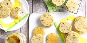 Pistachio Shortbread Cookies ~ delicately sweet and studded with salty pistachios, these easy-to-make cookies can be filled with lemon curd, fruity jam, or Nutella for fun and tasty sandwich cookies | FiveHeartHome.com