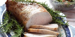 Rosemary Cider Brined Pork Loin ~ extra juicy and flavorful thanks to brining...and while it's easy enough to make for a weeknight dinner, it's impressive enough to serve for a special occasion! | FiveHeartHome.com