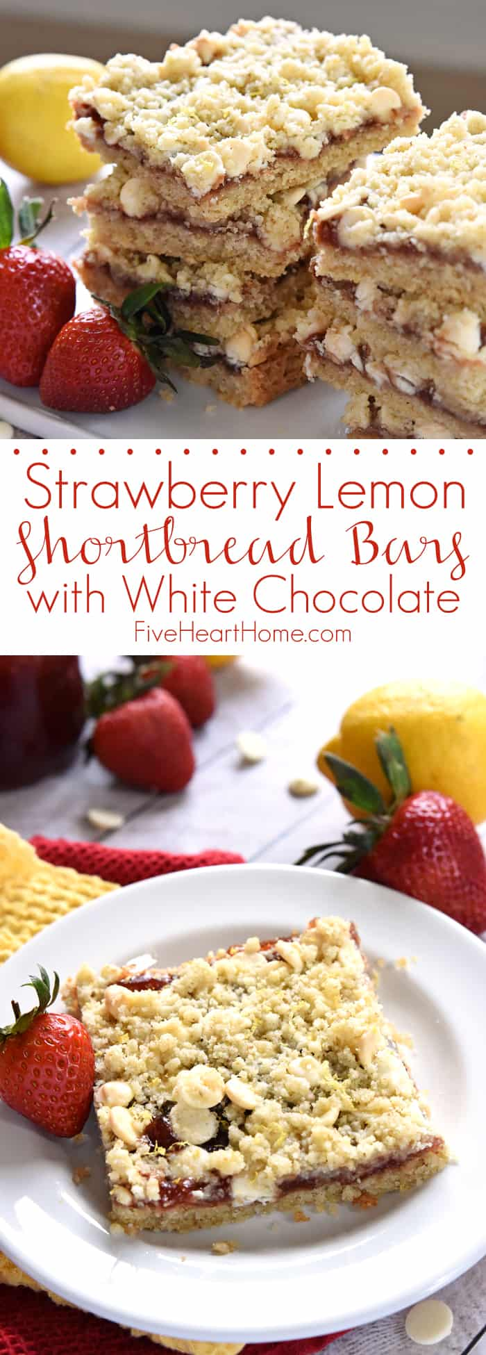 Strawberry Lemon Shortbread Bars with White Chocolate ~ feature a base ...
